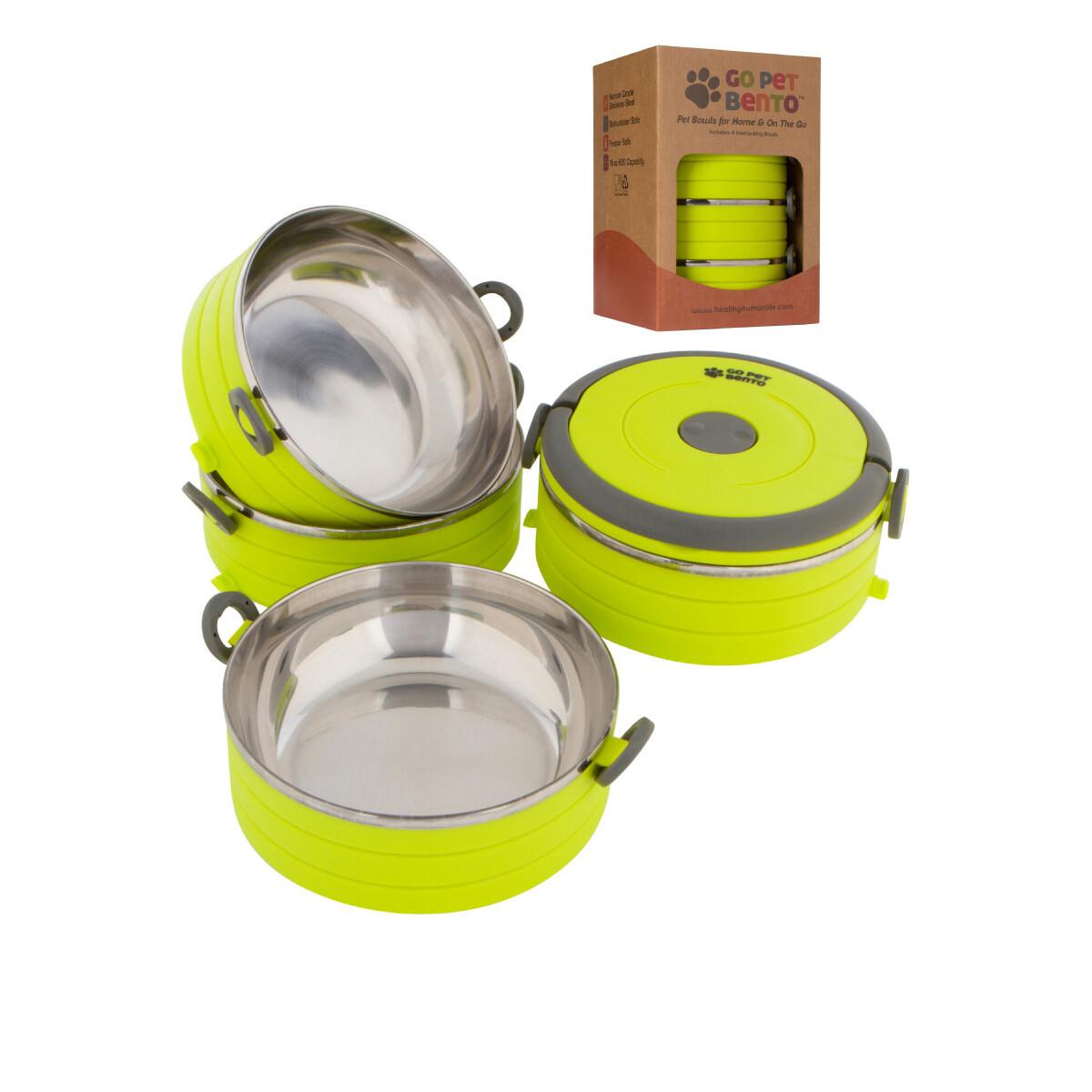 Travel Pet Bento 3 Bowls Green