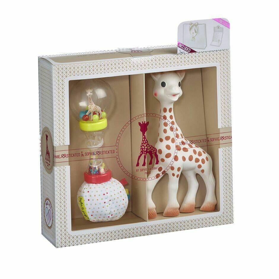 Sophie la girafe Σετ δώρου Sophiesticated με την Σόφι και κουδουνίστρα μαλακή μαράκα