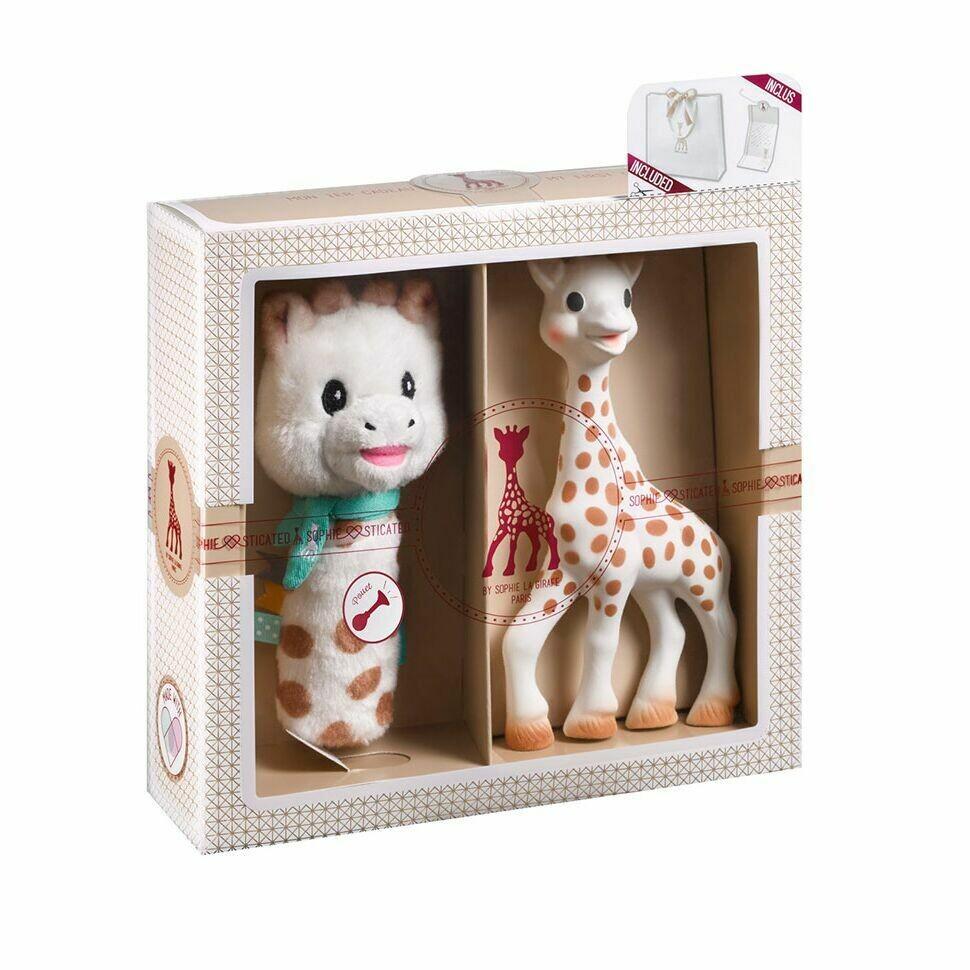 "Sophie la girafe Σετ δώρου με την Σόφι και μια κουδουνίστρα ""Πιου-πιου"""