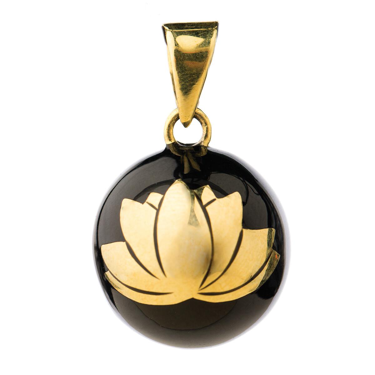 Bola Μενταγιόν εγκυμοσύνης - Μαύρο με χρυσό λουλούδι Λωτός