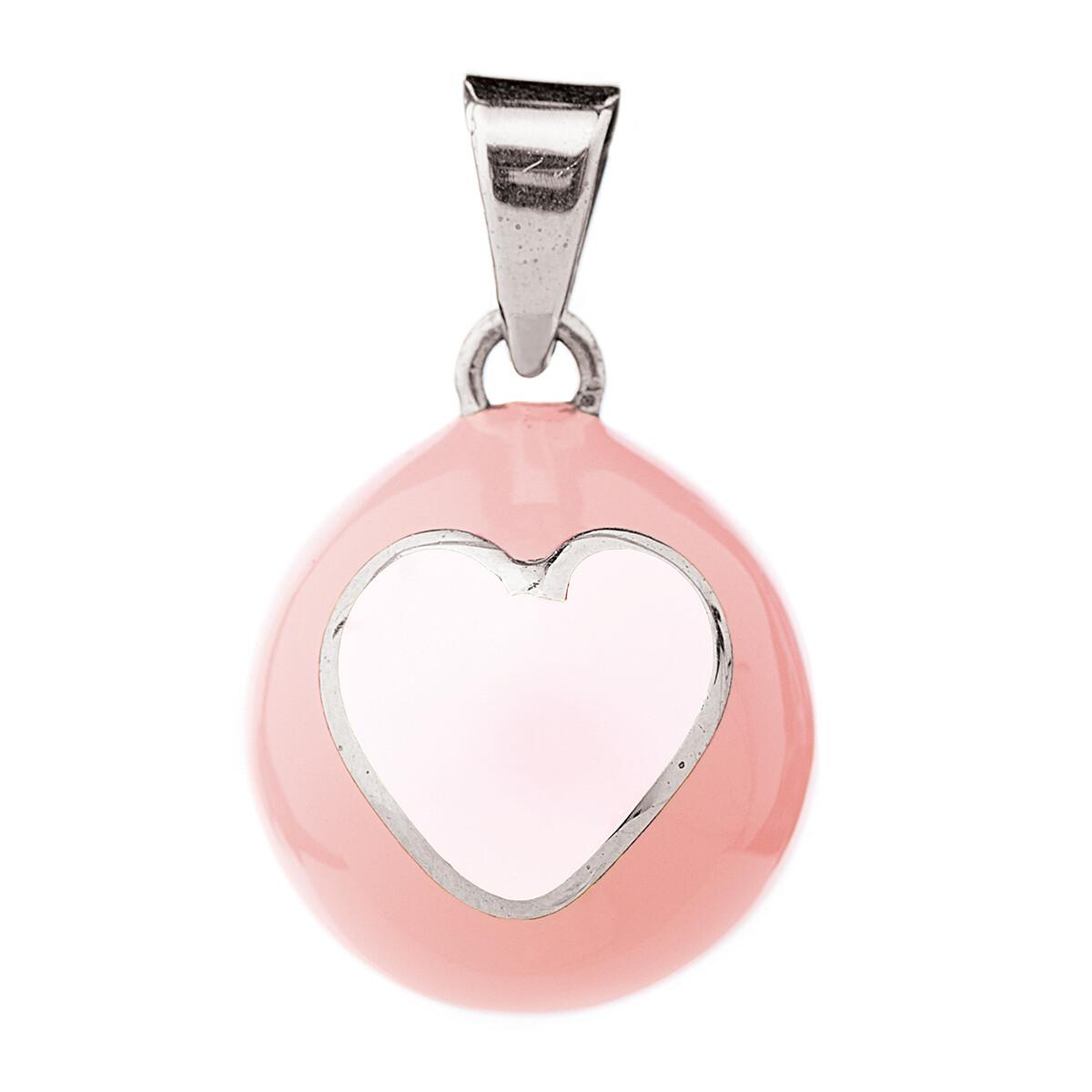 Bola Μενταγιόν εγκυμοσύνης - Ρόζ με άσπρη καρδιά