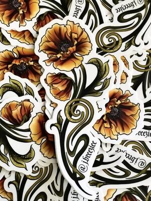 Nouveau Poppy Sticker