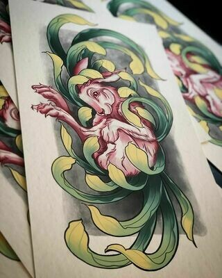 Chrysanthemum Rabbit Print