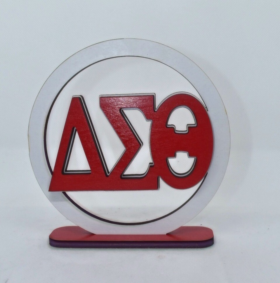 DST Circle Wood Sign with stand