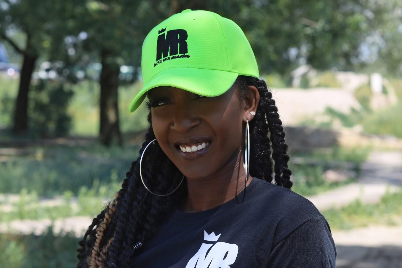 MR neon green cap