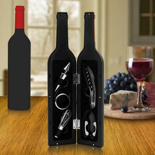 Premium Wine Bottle Gift Set - Opener, Stopper, Drip Ring, Foil Cutter & Pourer