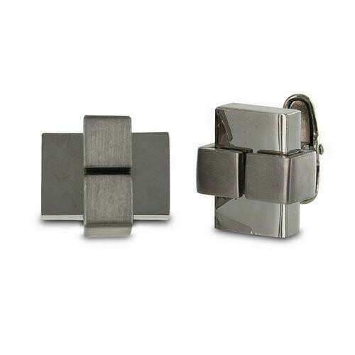 "Seville Men""s Sleek Gunmetal Cuff Links"