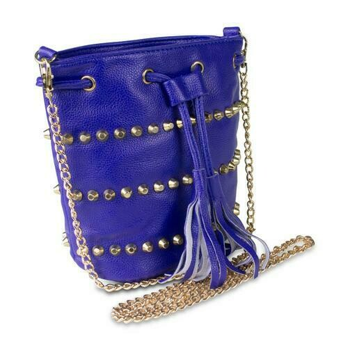 Mad Style Studded Drawstring Crossbody Bag, Blue