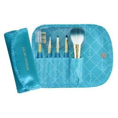 Jacki Design Vintage Allure 5 PC Make Up Brush Set And Bag, Turquoise