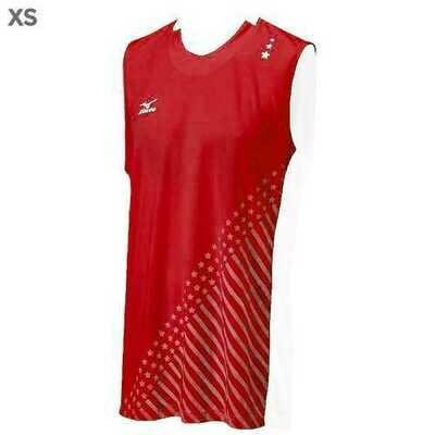 """Mizuno DryLite Men""""s National VI Sleeveless Jersey, Red & White - XS"""