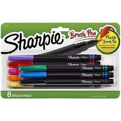 Sharpie Brush Tip Pens, Assorted Colors, 8 Count