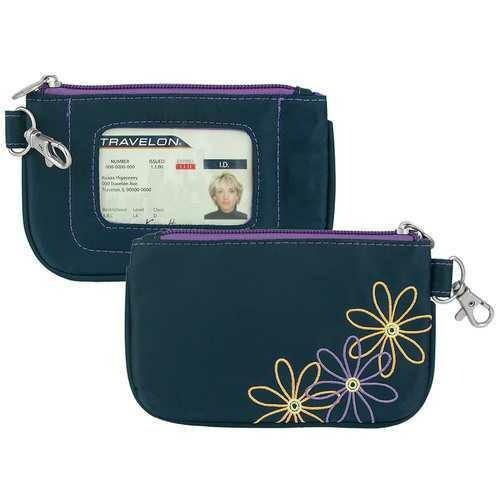 Travelon RFID Blocking Daisy Zip ID Card Holder Coin Pouch Wallet Navy