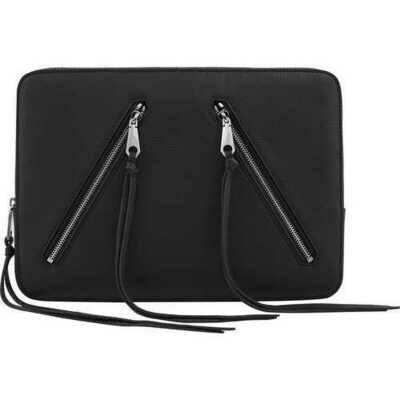 Rebecca Minkoff Moto 13 Sleeve Case Macbook Laptop Black Pebble Leather