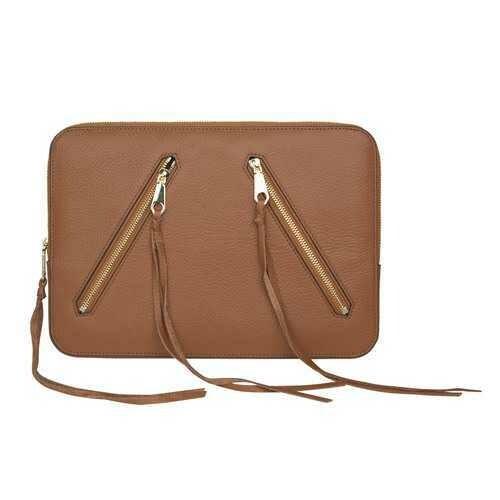 Rebecca Minkoff Moto 13 Sleeve Case for Macbook Laptop Almond Leather Open Box