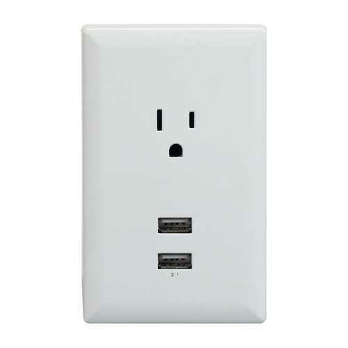 RCA Dual USB + Single Power Outlet Wall Adapter Plate WP2UWR