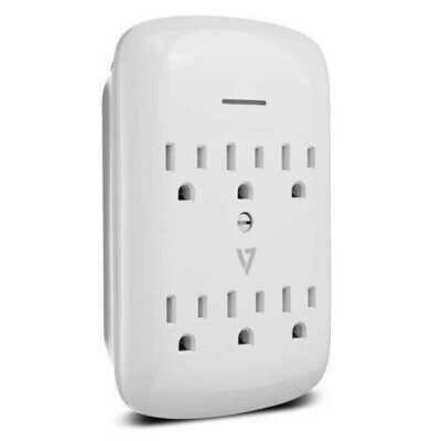 V7 SA06WALL-1N 6-Outlet Wall Tap 1200 Joule Surge Protector - White