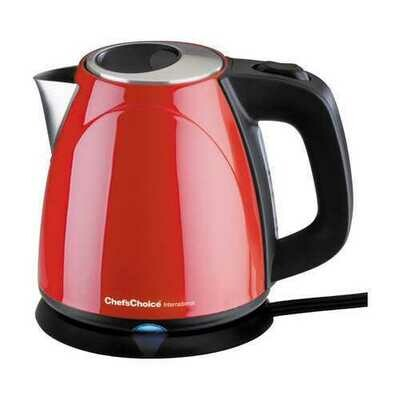 """Chef""""sChoice 673 Compact 1 Liter Auto Shut Off Electric Kettle Red"""