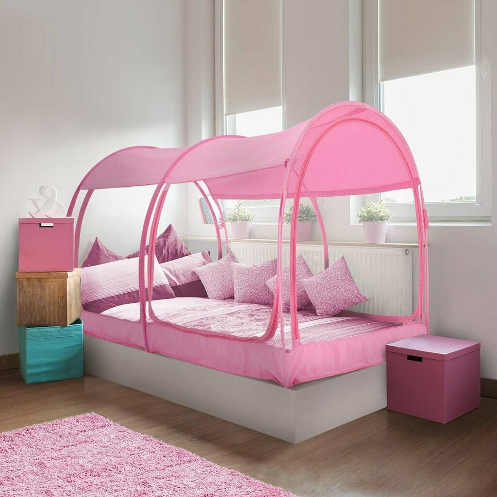 TWIN PINK MESH MOSQUITO NET BED
