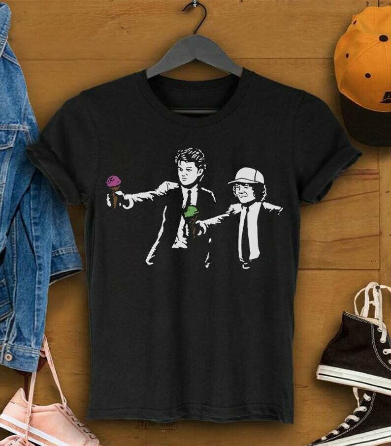Scoops Troops Fiction Stranger Things Season 3 Hawkins High School Steve Billy 11 Eleven Upside Down Demogorgon Netflix TV Series T Shirt