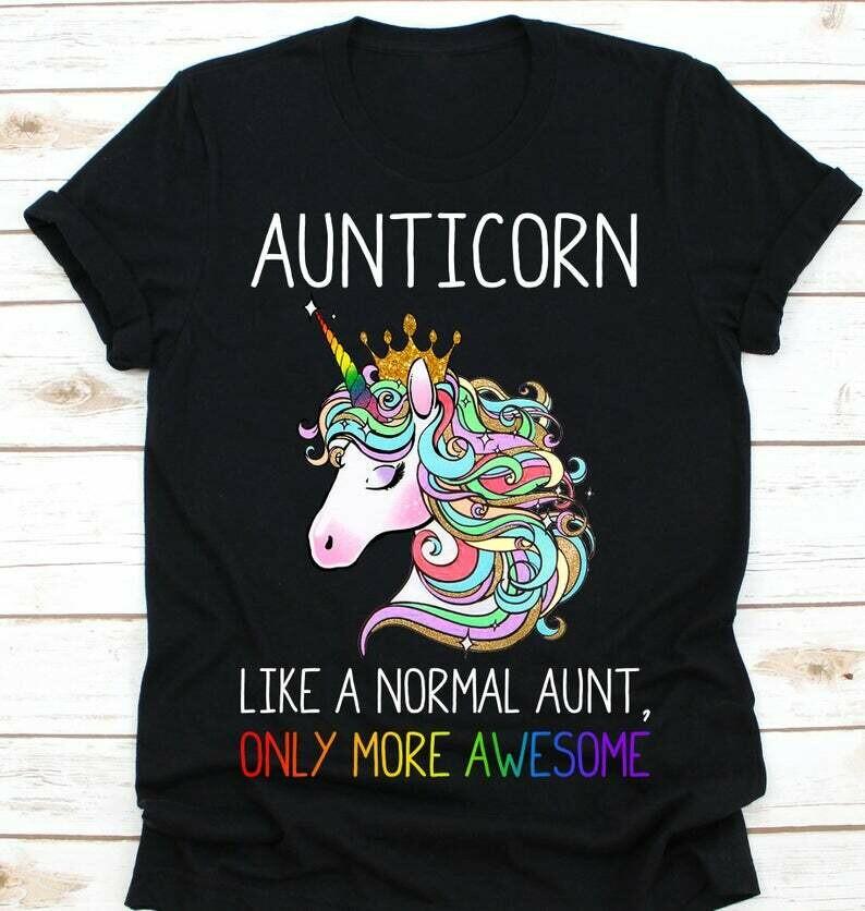 Aunticorn LGBT Pride Shirt - Gay Pride Rainbow LGBT T-Shirt - Unisex Lesbian Gay Bi Trans Rights - Gay Shirt Black Shirt