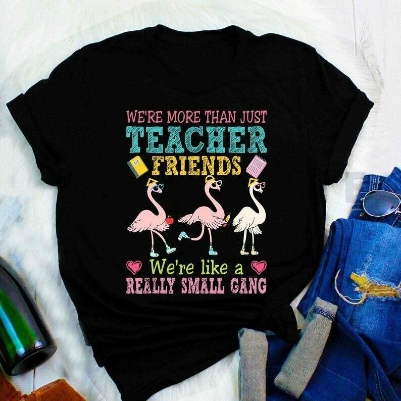 We're more than just teacher friends teacher flamingo shirts We're more than just teacher friends shirt Like A Really Small Gang Tee