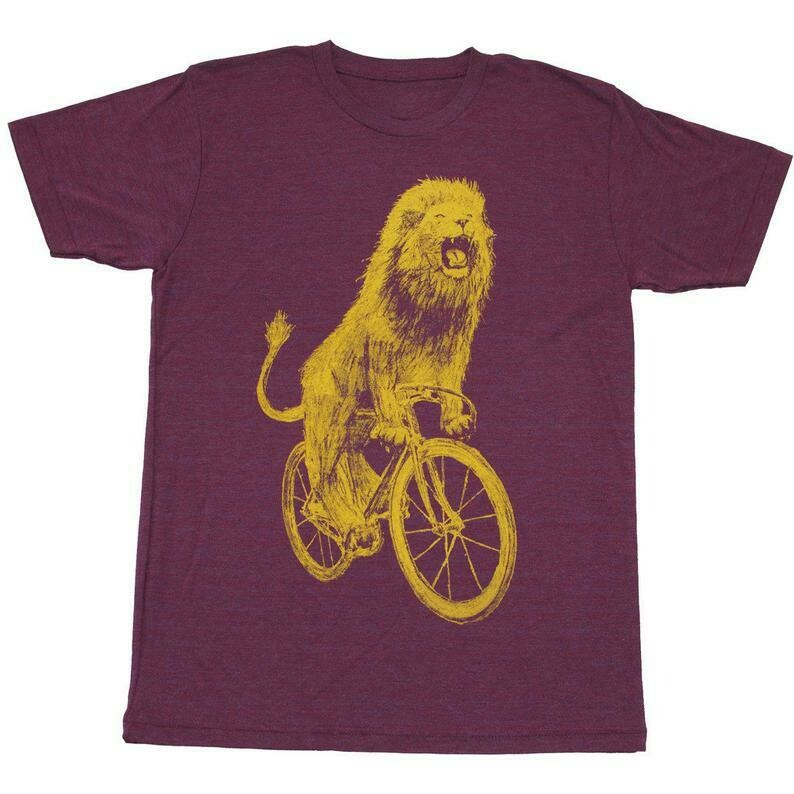 Lion Shirt | Quirky Shirt With A Lion Riding A Bicycle | Screen Printed Men's Unisex Shirt For Lion Lovers