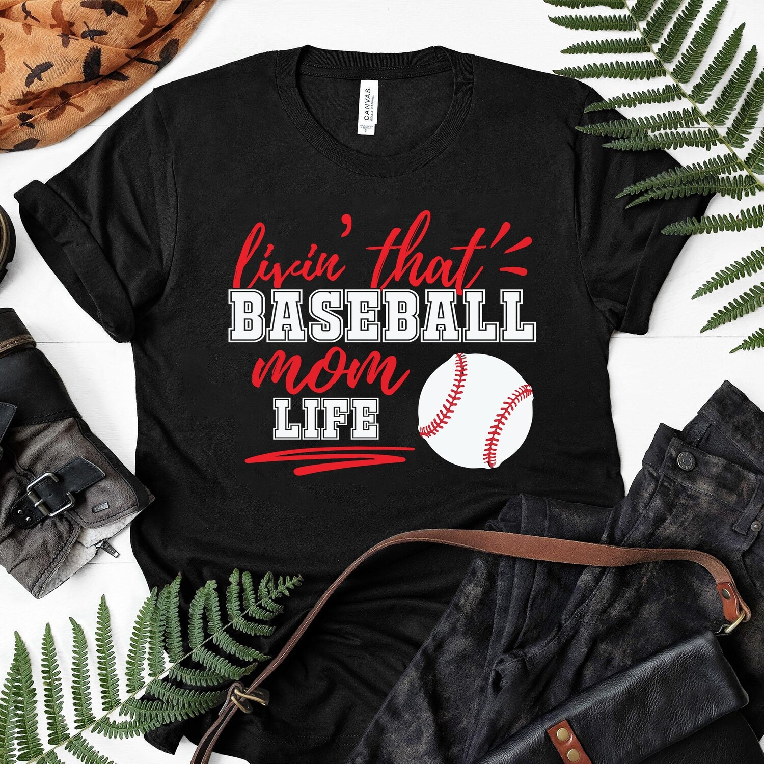 Livin the Baseball mom life Tshirt, Baseball Mom Shirt, Love Baseball Tshirt, Womens Sports shirt, Baseball Spirit Shirt