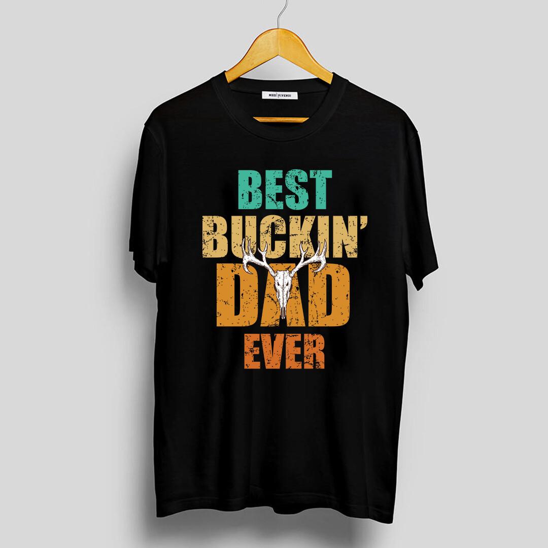 Vintage Best Buckin Dad Ever Short-Sleeve Unisex T-Shirt, Father's Day Shirt For Buckin Dad, Hunting Dad Shirt