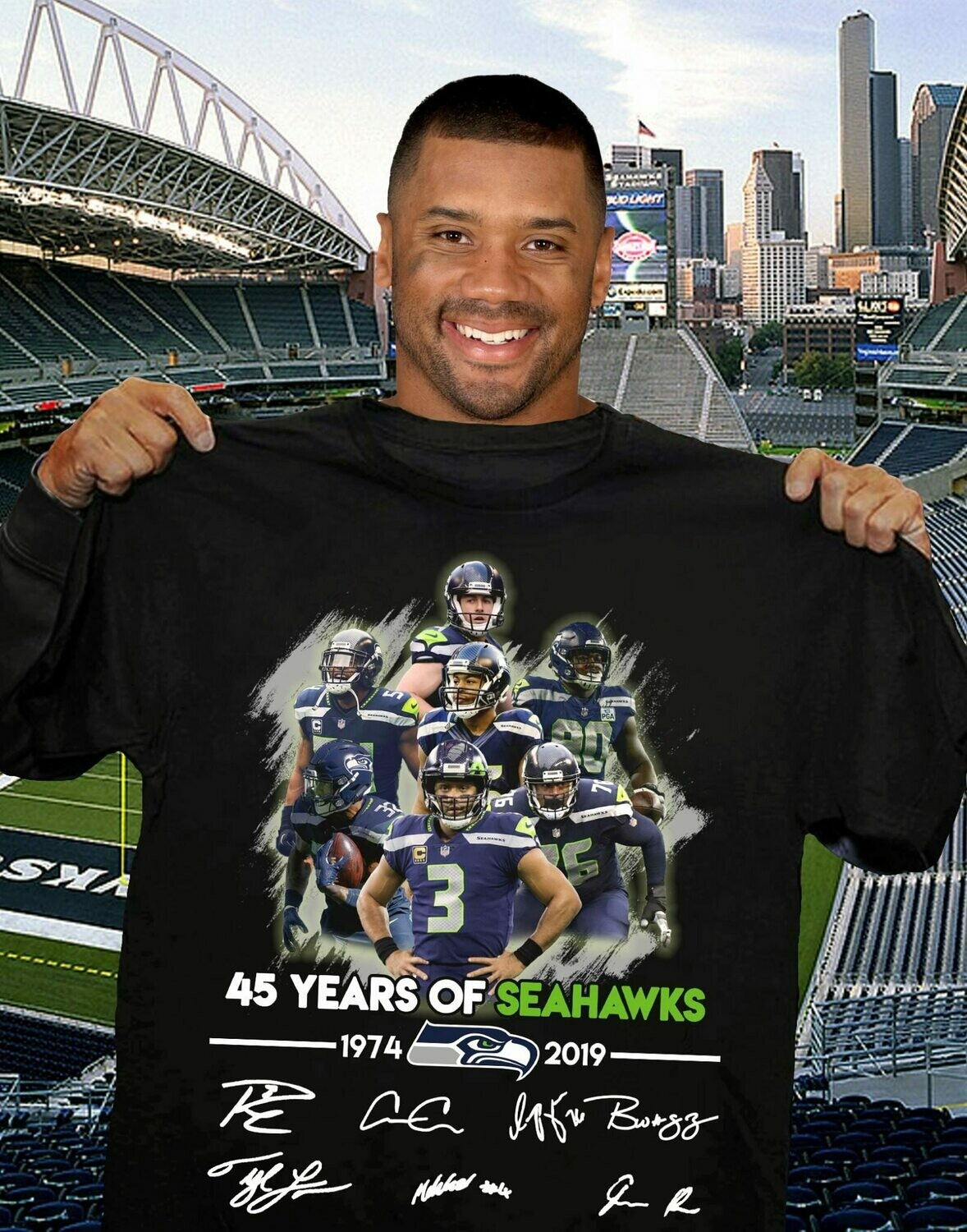 Vintage Seattle Seahawks T-shirt 45 Year Of Vintage Seattle Seahawks T-shirt