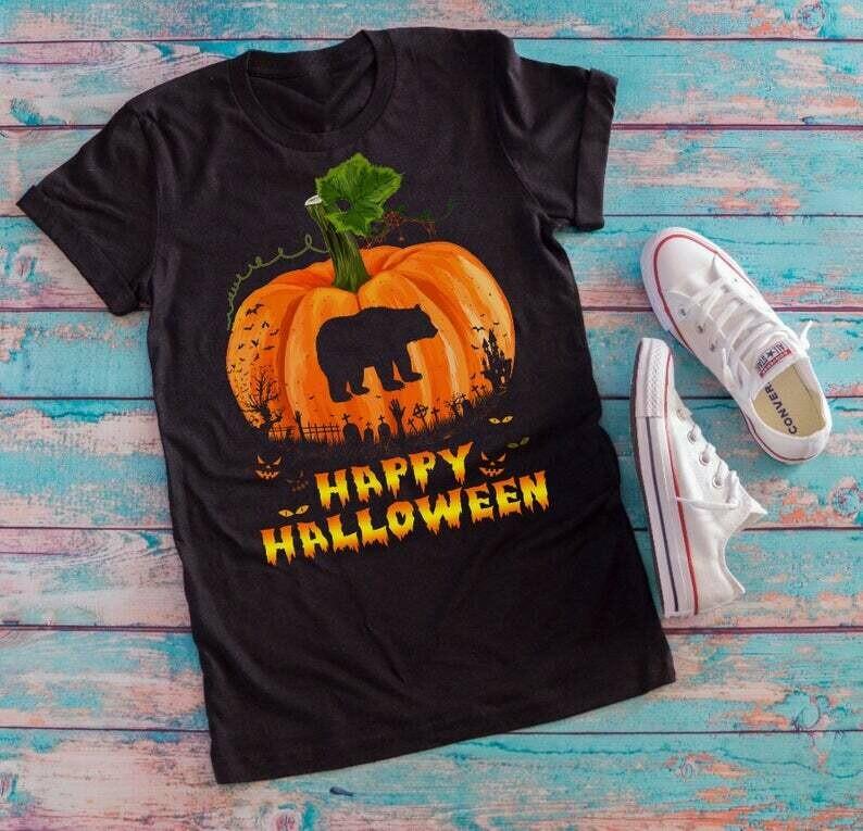 Bear Pumpkin Happy Halloween T-shirt, Pumpkin Halloween shirts, halloween 2019 party tee, halloween party gift, Bear cosplay Halloween gifts