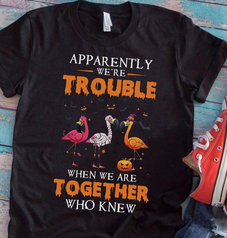Funny Flamingo Halloween Costume Shirt Pumpkin Candy Basket Tee Demon Witch Mummy Three Flamingos Tshirt Happy halloween Gift For Men Women