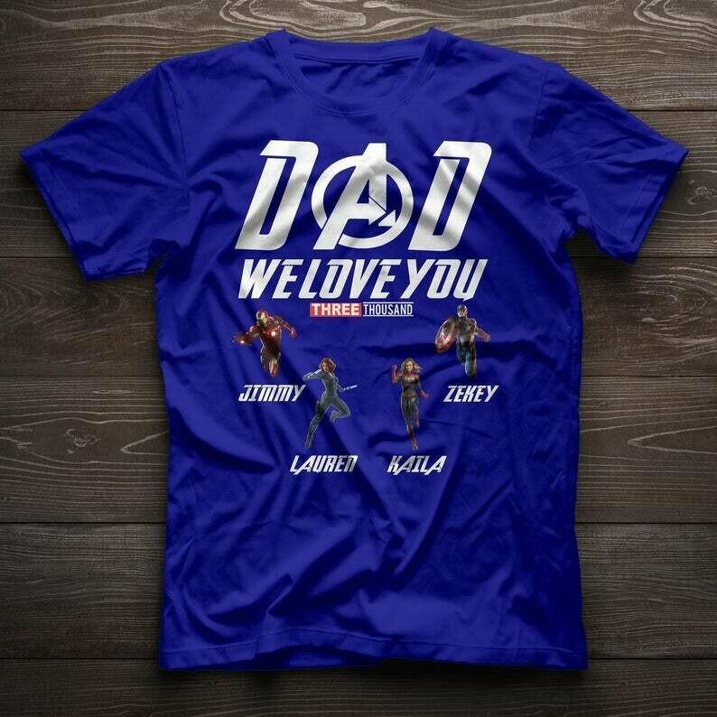Personalized Custom Name We Love You 3000 Shirt, Customized Family Shirt, Custom Fathers Gift for Dad, Mom, Grandfather, Grandpa, Grandma