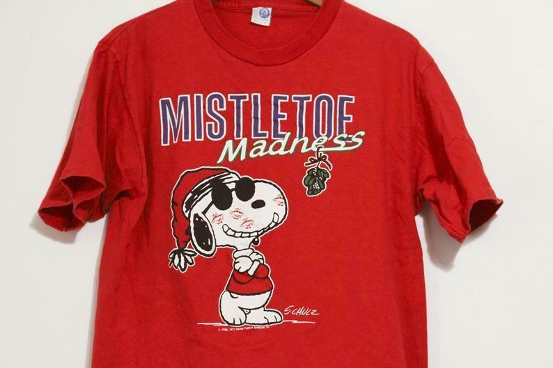 Vintage Merry Christmas Mistletoe Madness Snoopy T Shirt