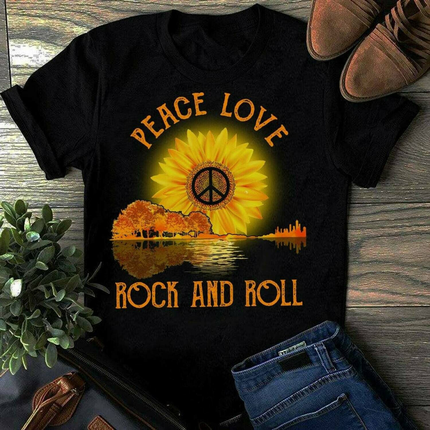 Funny Rock Roll T-Shirt Peace Love and Rock and Roll Tee, sunflower tshirt, Rock and Roll Fans, loves cool Rock & Roll Shirt, father gift