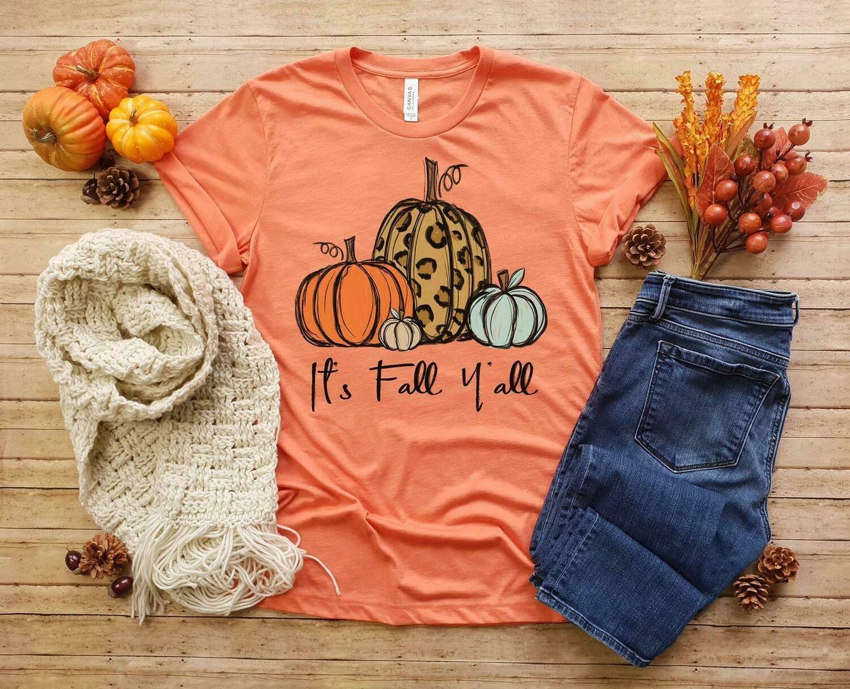 Fall Shirts Women, It's Fall Y'all, Pumpkin Shirt, Leopard Pumpkin Shirt, Pumpkin Shirts, Womens Fall Shirt, Bella Canvas Thanksgiving Shirt