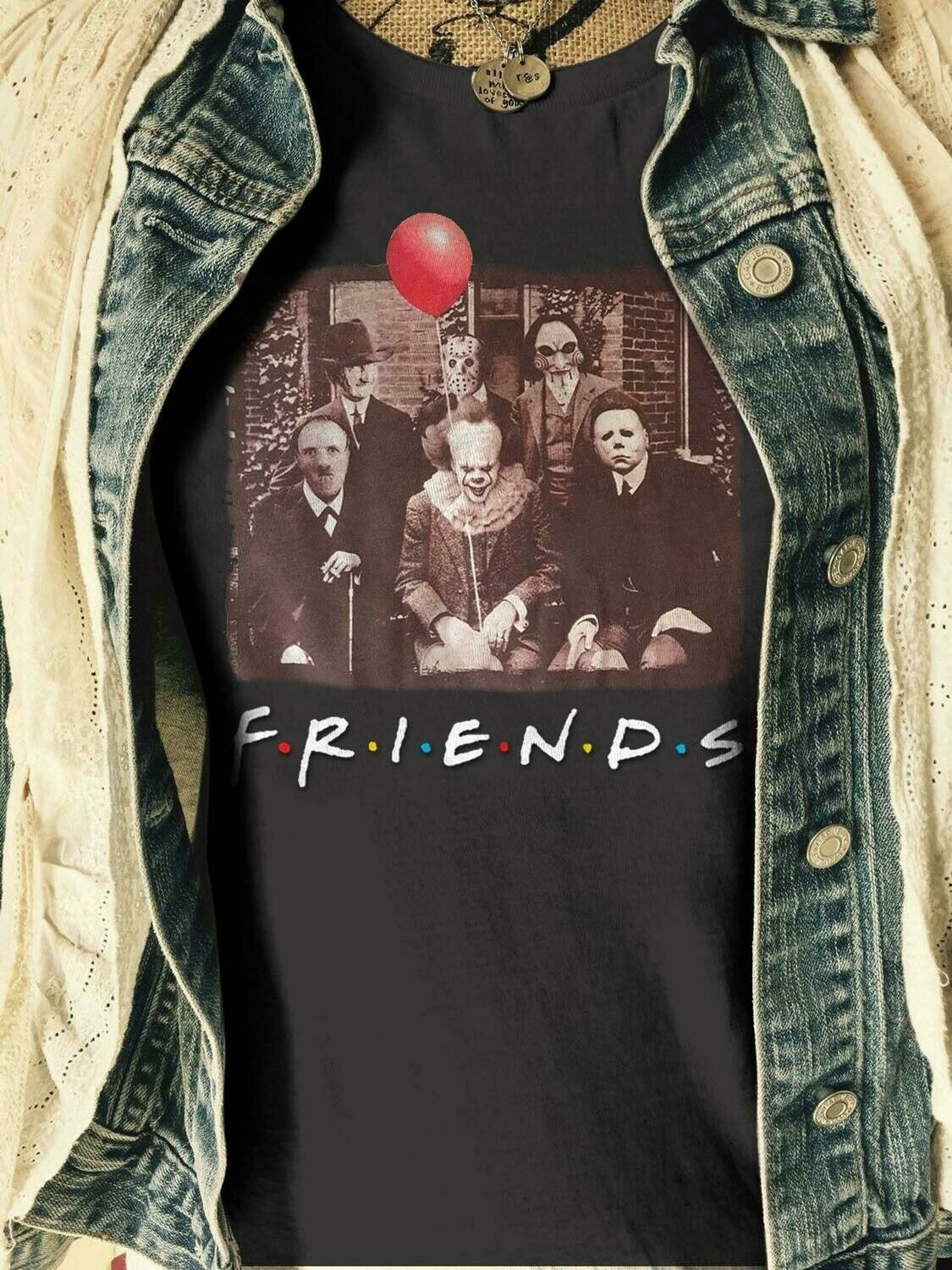 Friends IT Pennywise We All Float Down Here Squad Friday The 13th Villains Halloween Horror movie mashup Halloween squad tee tshirt T Shirt