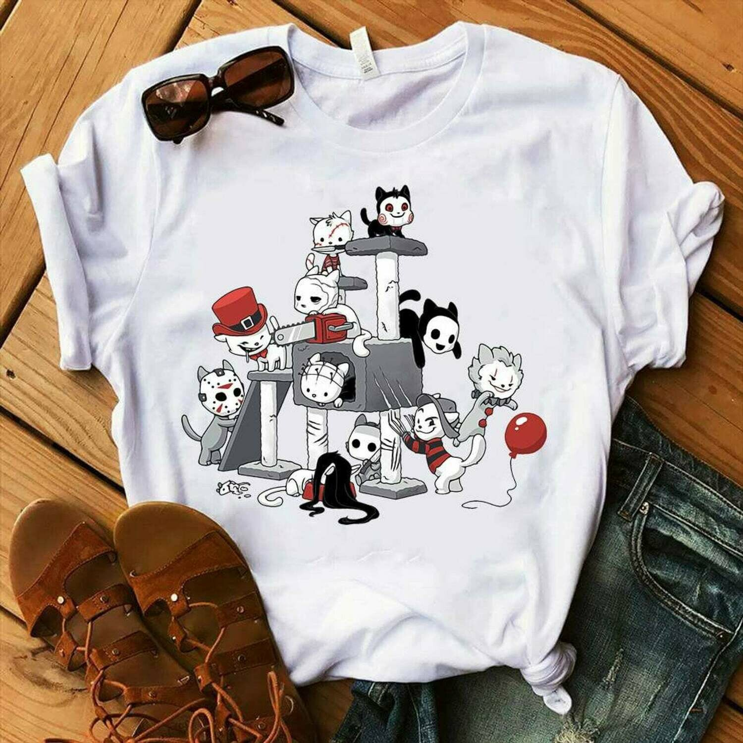 Funny Friends Halloween Shirt - Perfect Gift For Cat Lovers Who Also Loves Horror Movies Shirts Cute Halloween Movies Fan Gifts, pumpkin shirt, fall shirts, halloween shirt, womens fall shirt, hocus