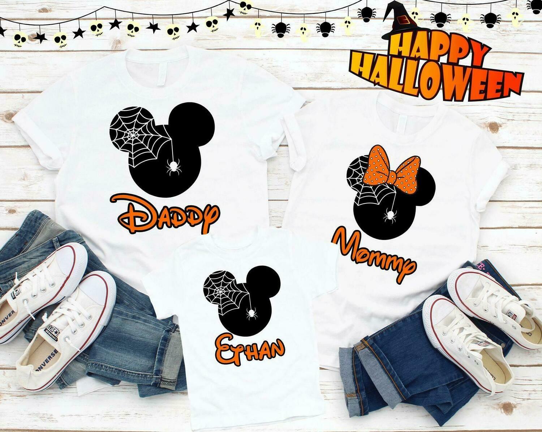 Halloween Family Mickey Minnie Shirts, Matching Vacation Outfits, Disney Shirts Vacation, Minnie Mickey Holloween, Matching Family Trip P50, matching shirts, Halloween custom, alloween kids, Halloween