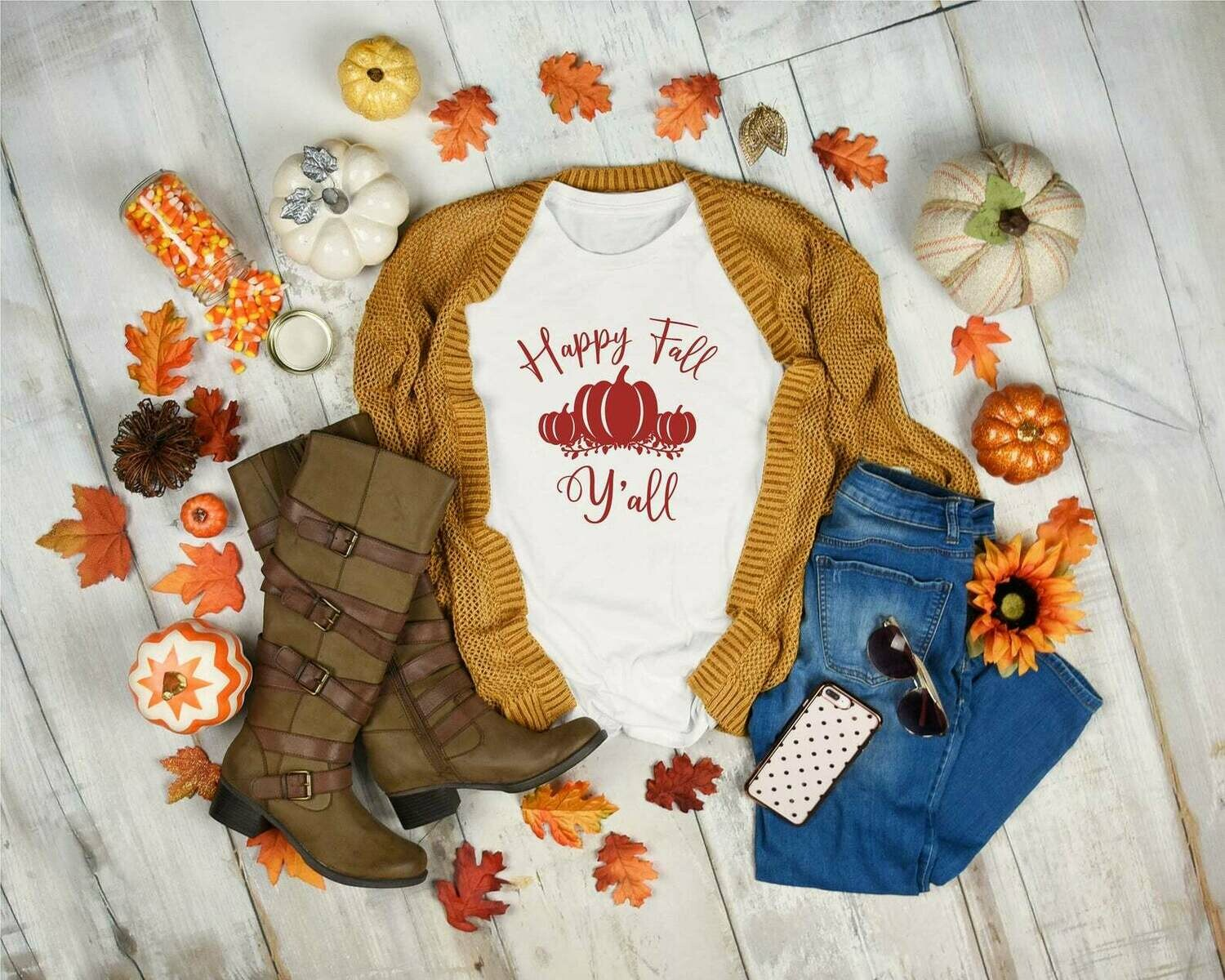 Fall T-shirts for woman, Autumn Leaves and Pumpkins,Fall shirt, Autumn Shirt, Pumpkin shirt, Thanksgiving, Women's Graphic Tee, Fall T-shirts