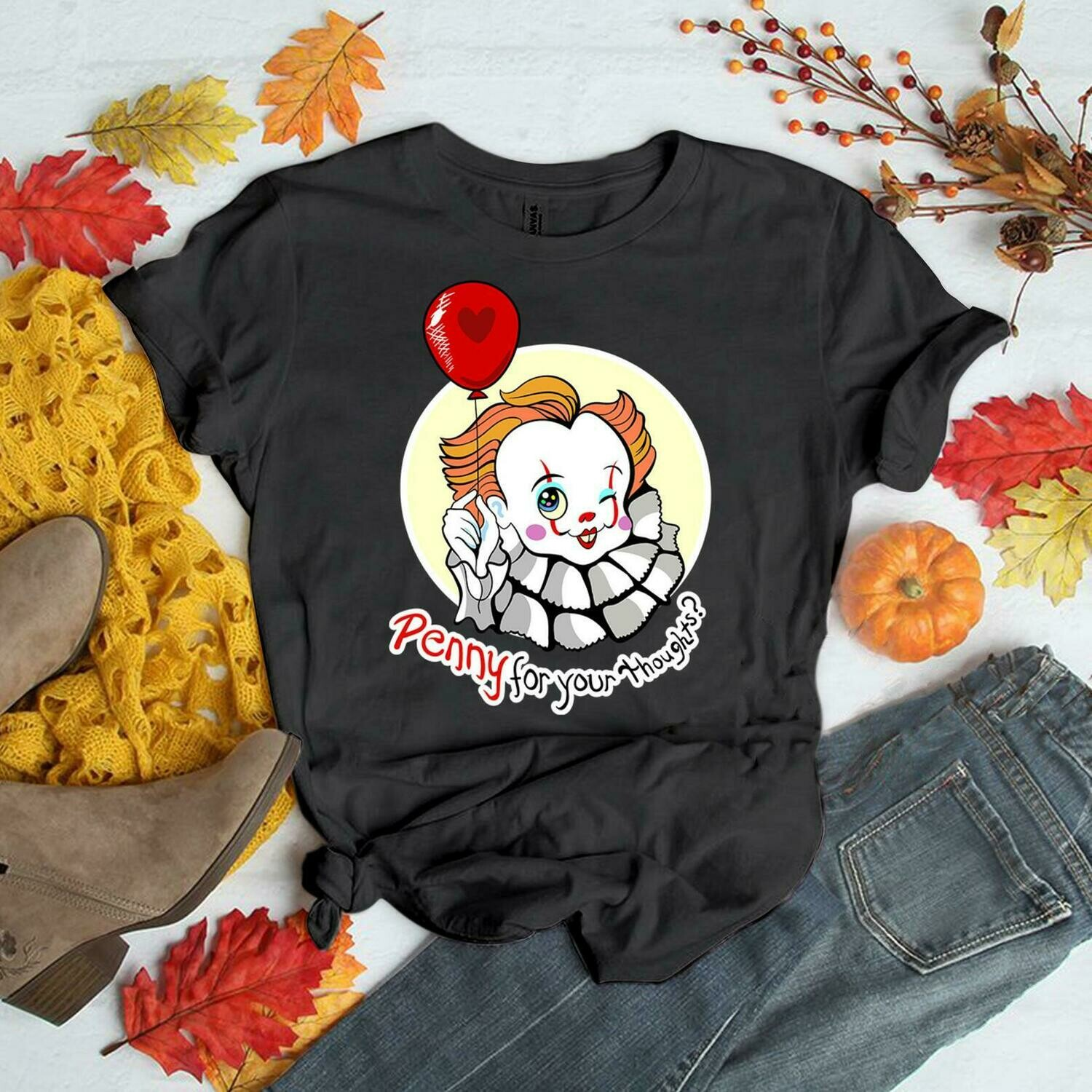 It Pennywise Shirt | Penny For Your Thoughts Shirt | Halloween Shirt, it pennywise, pennywise shirt, itpennywise tshirt, for your thought, halloween shirt, halloween tshirt, halloween shirts
