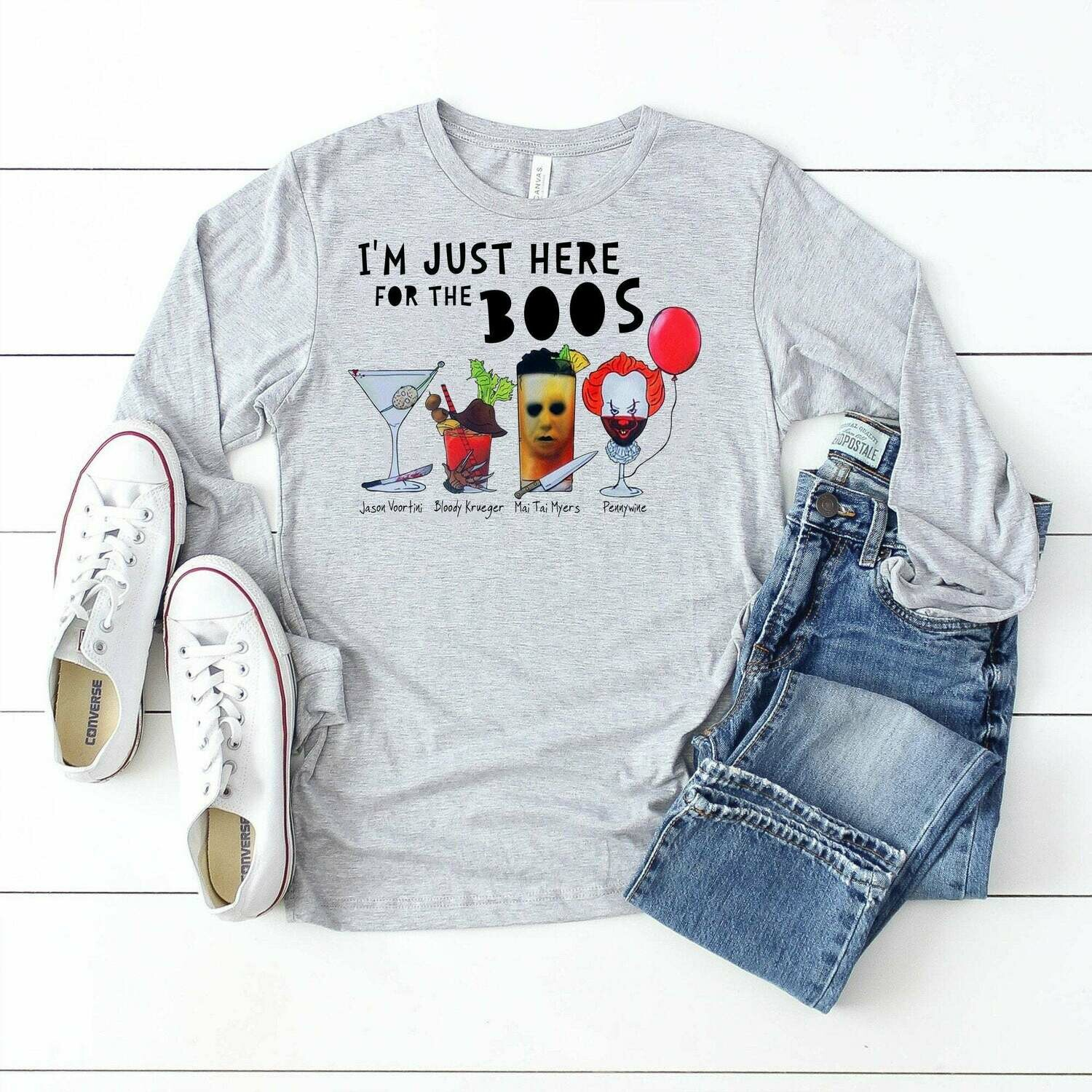 Horror Character Drink Wine I'm Just Here For The Boos Halloween Squad Friday The 13th Villains Halloween Horror movie mashup Squad T-Shirt, Horror Character, Villains Halloween, Halloween Costume