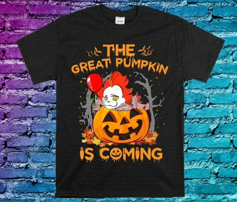 The Great Pumpkin Is Coming Chibi Pennywise Horror Friday The 13th Villains Halloween Movie Mashup Halloween Tee Not So Scary T-Shirt, The Great Pumpkin, Pennywise Shirt, Horror Halloween