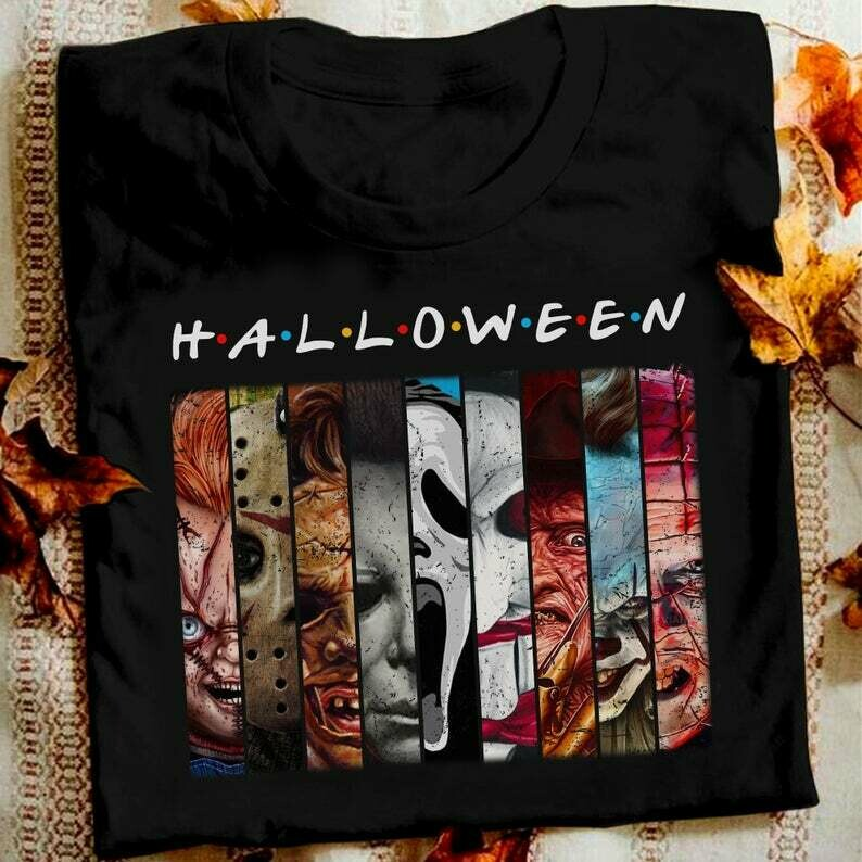 Friends IT Halloween Horror Characters Pennywise Squad We All Float Down Here Squad Villains Movie Mashup T-Shirt, Friends T shirt, Horror Character, Horror Halloween, Horror movie shirt, Horror movie