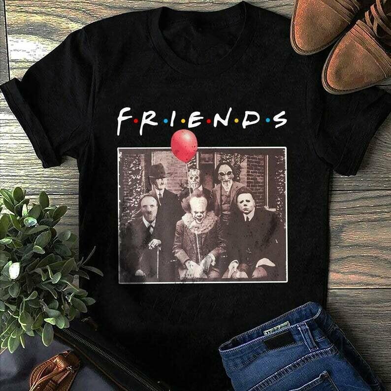 Halloween Tshirt , Friends Tshirt , Halloween Friends Tshirt  - Freddy Jason Michael Myers Pennywise - Amazing Shirt Gift For Horror Movie Fans, Horror Halloween, Horror movie shirt