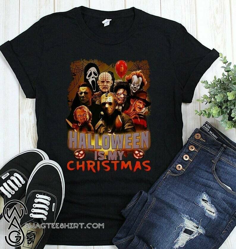 Friends IT Pennywise We All Float Down Here Squad Friday The 13th Villains Halloween Horror movie mashup Halloween squad tee tshirt T Shirt, squad goals shirt, Cute Autumn Shirts, freddy jason