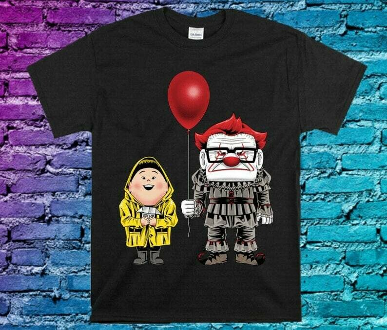 Funny UP Russell And Carl Fredricksen Cosplay Inspired IT Pennywise Gifts For Fan Movie Villains Halloween Movie Halloween Squad Tee T-Shirt, Inspired Pennywise, Hocus Pocus Tshirts, Halloween Cosplay