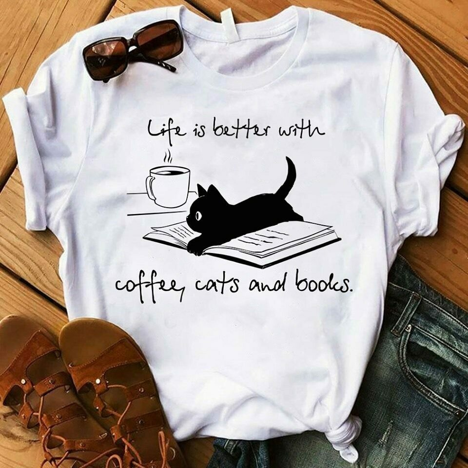 Life is Better With coffee, Cats and books T-Shirt Life is Better With Cats T-Shirt-Cute Mom Shirt-Show Me Your Kitties-Cute Cat Shirt-Cat Shirts, cat owners, Kitty Mom, Cat Lover, Crazy Cat Lady Tee,