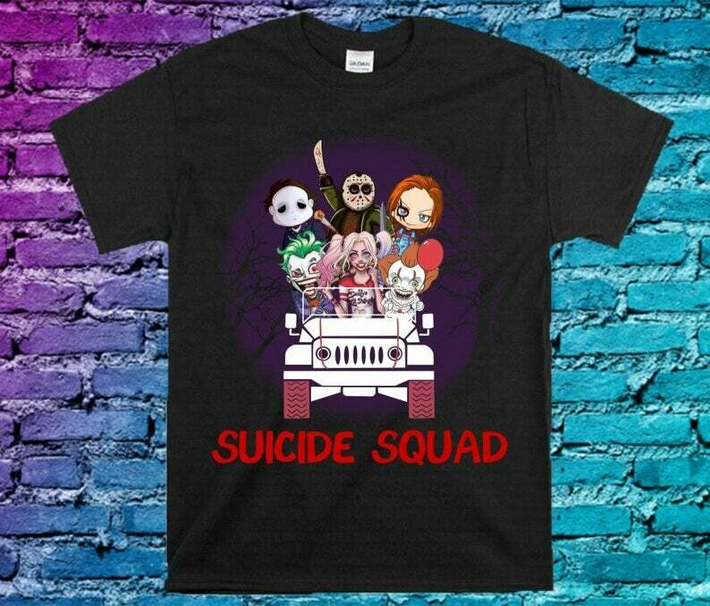 Horror Character On Jeep Suicide Squad Friday The 13th Gifts For Fan Movie Villains Halloween Horror Movie Mashup Squad Not So Scary T-Shirt, Suicide Squad shirt, Horror Character, Halloween Horror