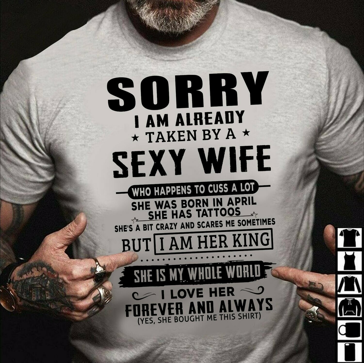 sorry i'm already taken by a sexy wife but i am her King shirt, Sorry This Girl Is Already Taken By A Sexy Bearded Man T Shirt, Funny Women's T-Shirt, Girls Ladies Fashion Gift, Hipster Tumblr Tee