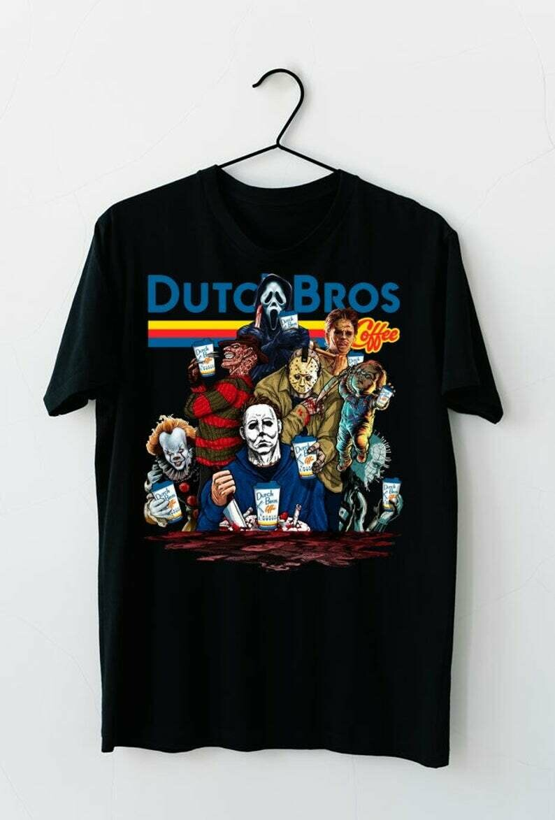 Dutch Bros Coffee IT Pennywise We All Float Down Here Squad Friday The 13th Villains Halloween Horror movie mashup Halloween squad T Shirt, Dutch Bros Coffee, squad goals shirt, Cute Autumn shirts